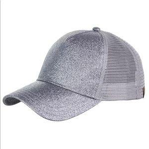 Silver high ponytail messy bun glitter hat cap